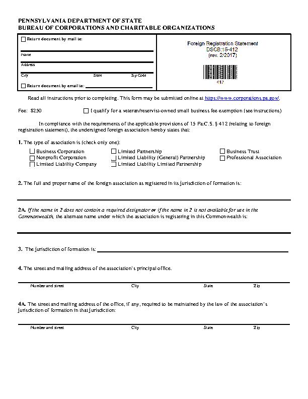Pennsylvania Foreign Registration Statement
