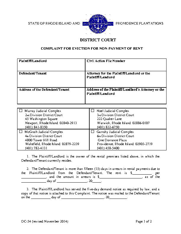 Ri Complaint For Non Payment