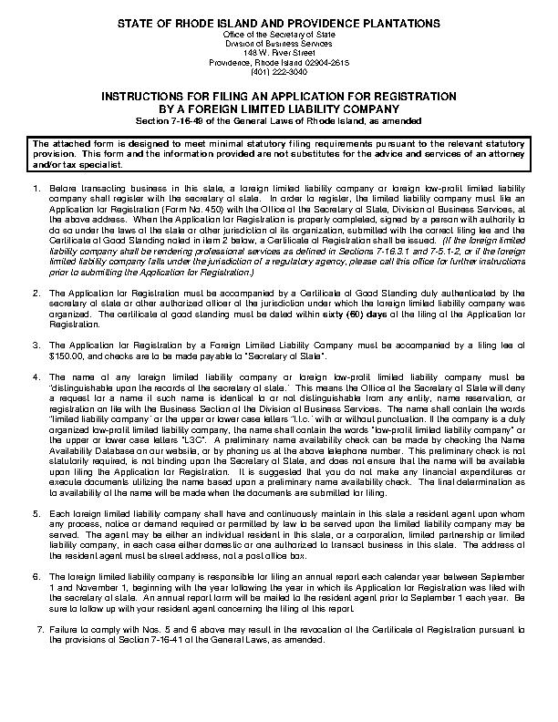 Rhode Island Application For Registration