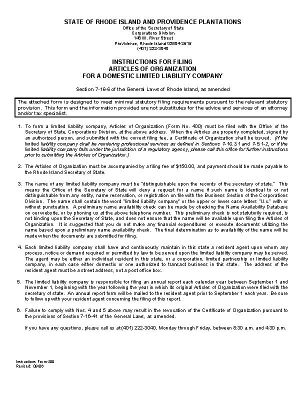 Rhode Island Articles Of Organization