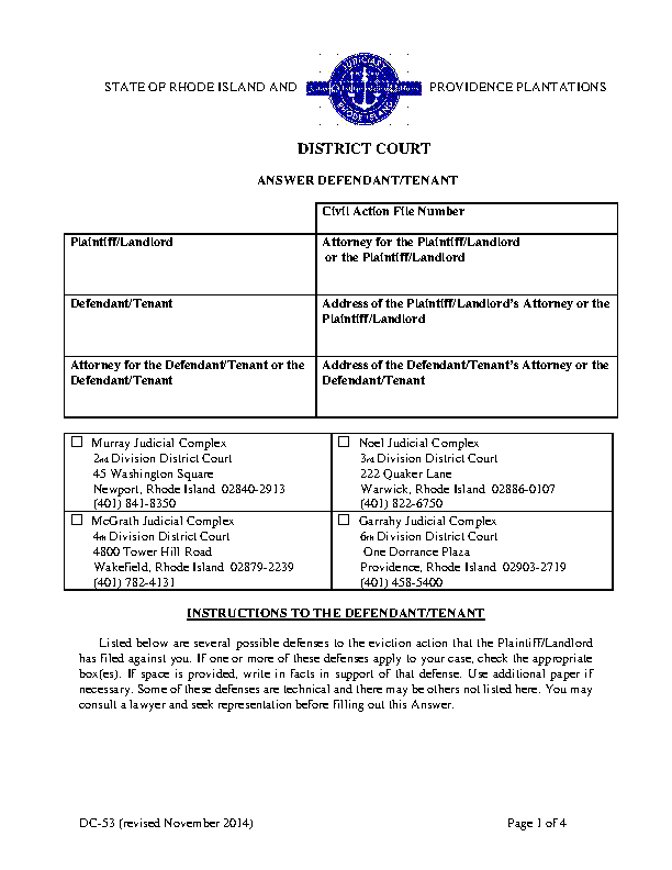 Rhode Island Eviction Answer Form Tenant