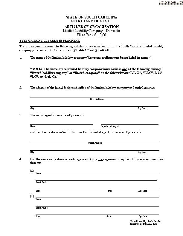 South Carolina Articles Of Organization