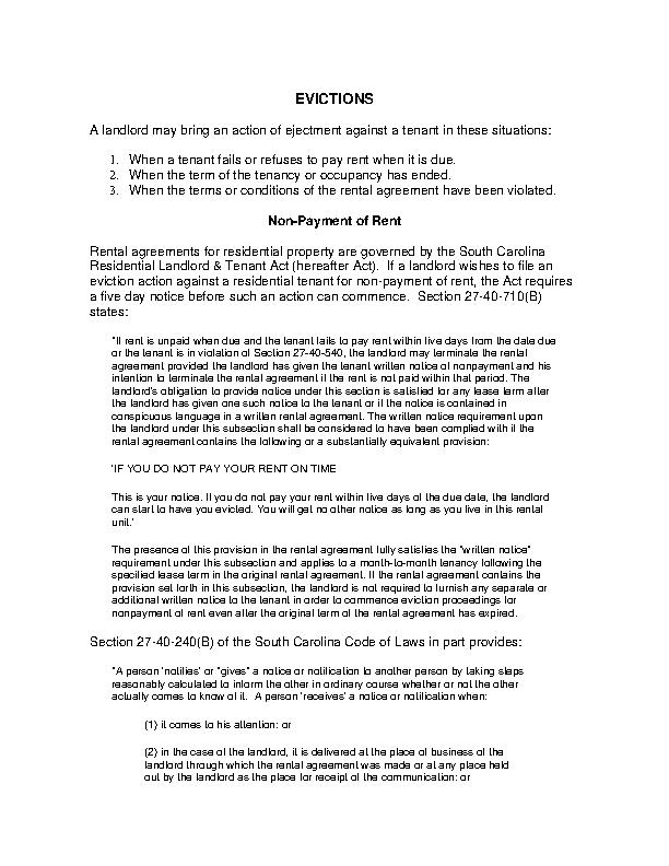 South Carolina Eviction Process Instructions