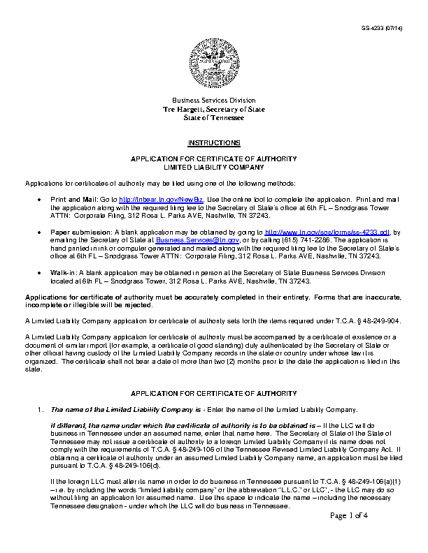 Tennessee Certificate Of Authority