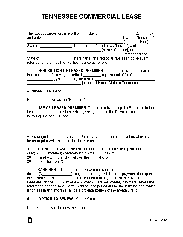 Tennessee Commercial Lease Agreement