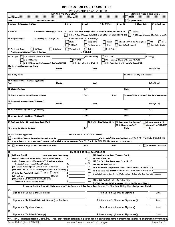 Texas Application For Texas Title 130 U