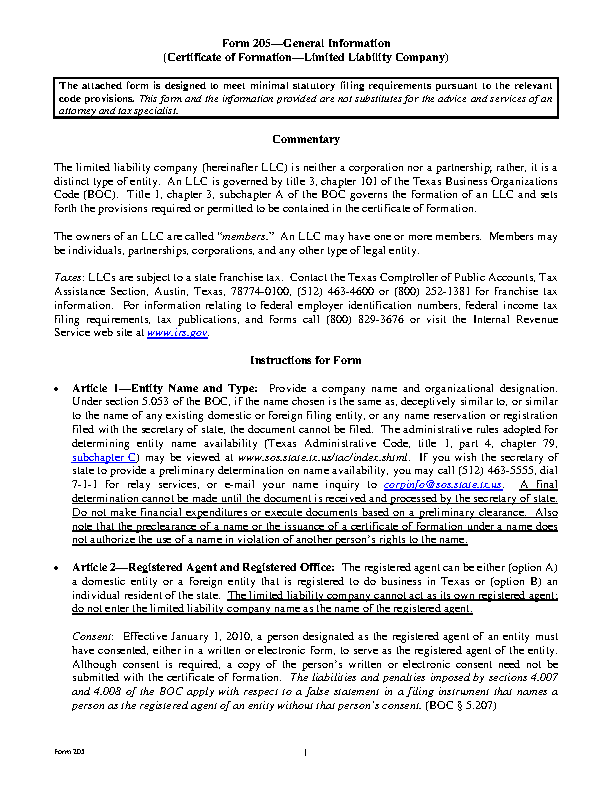 Texas Certificate Of Formation