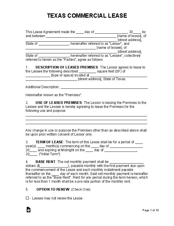 Texas Commercial Lease Agreement