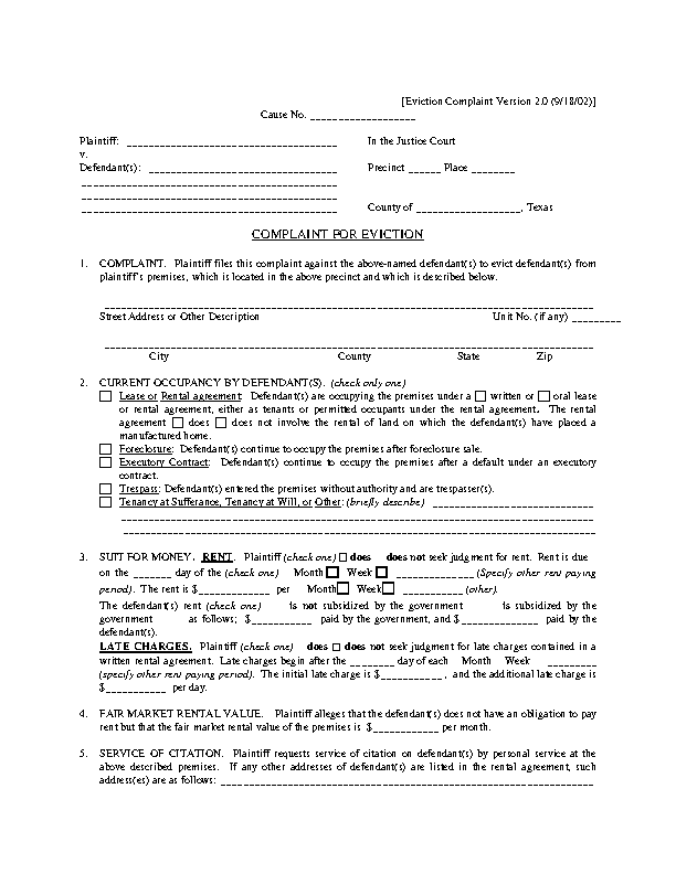Texas Complaint For Eviction Form
