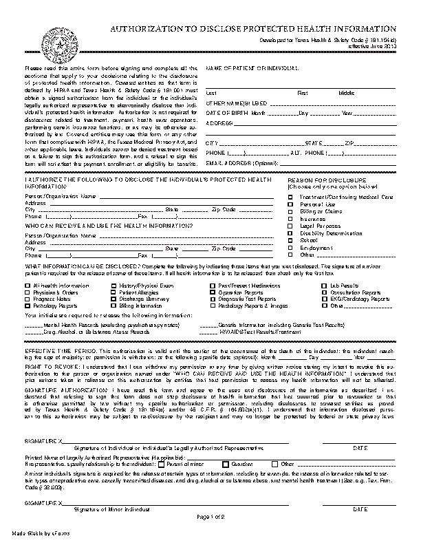 Texas Hipaa Medical Release Form