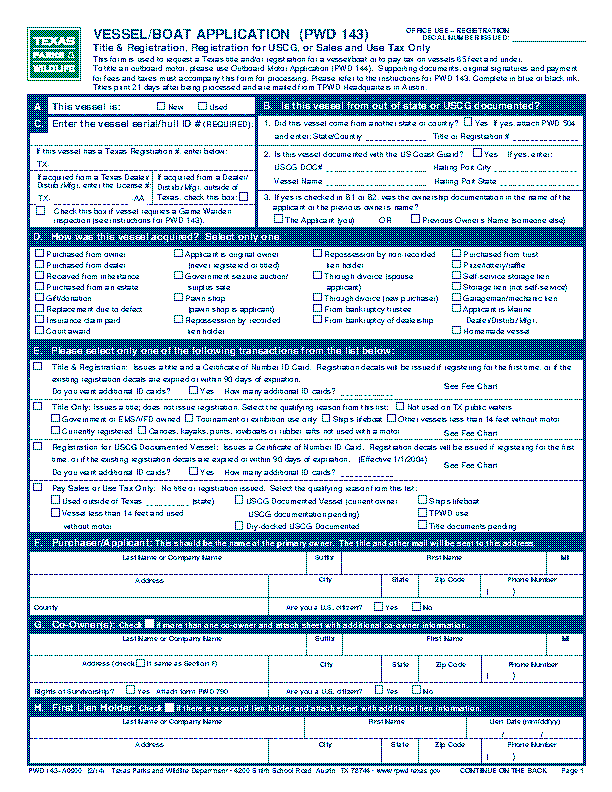 Texas Vessel Boat Application Pwd 143