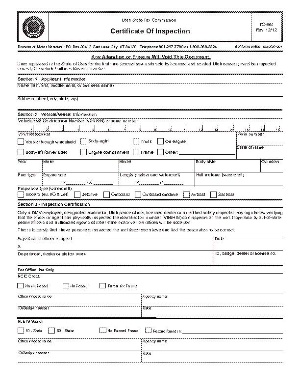 Utah Certificate Of Inspection Tc 661