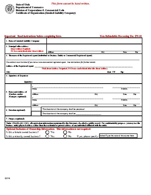 Utah Domestic Certificate Of Organization