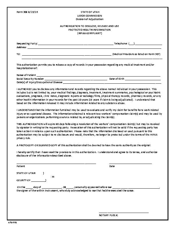 Utah Hipaa Medical Release Form 1