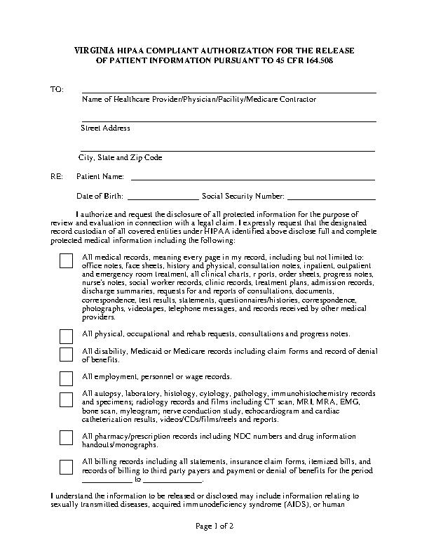 Virginia Hipaa Medical Release Form