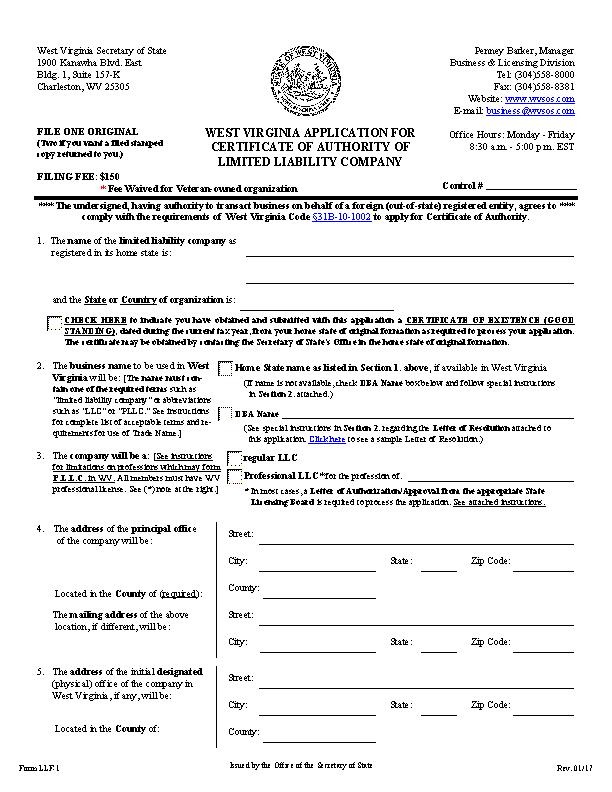 West Virginia Certificate Of Organization