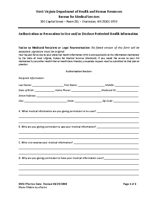 West Virginia Hipaa Medical Release Form