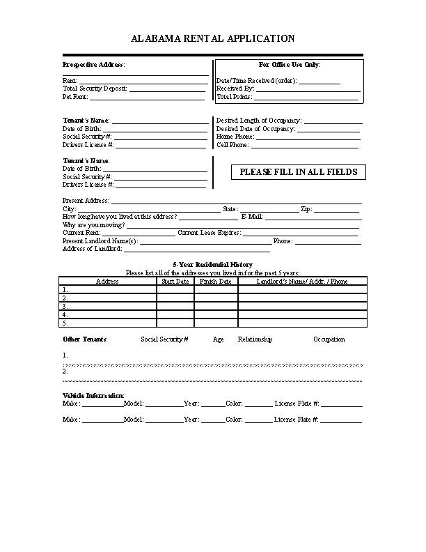 Alabama Rental Application