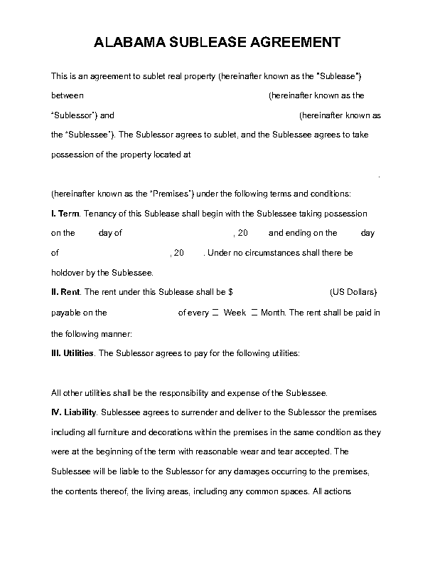 Alabama Sublease Agreement Template