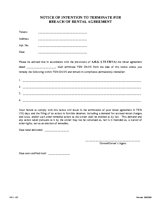 Arizona 10 Day Notice To Quit Noncompliance Form