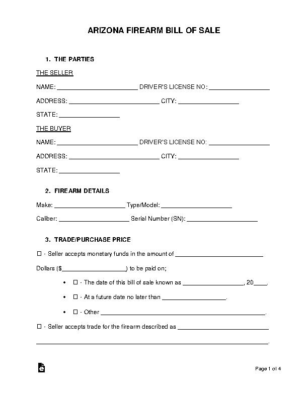 Arizona Firearm Bill Of Sale