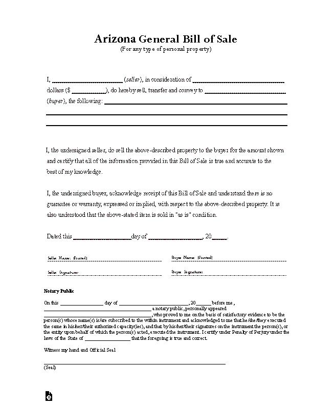 Arizona General Bill Of Sale Form