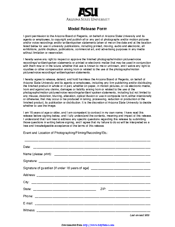 Arizona Model Release Form 1