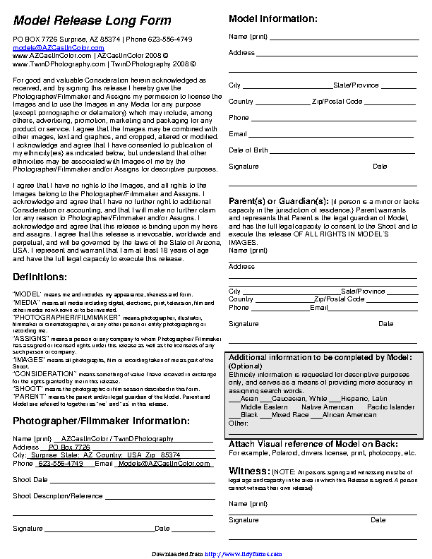Arizona Model Release Form 3