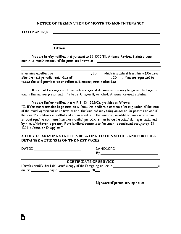Arizona Month To Month Lease Termination Letter