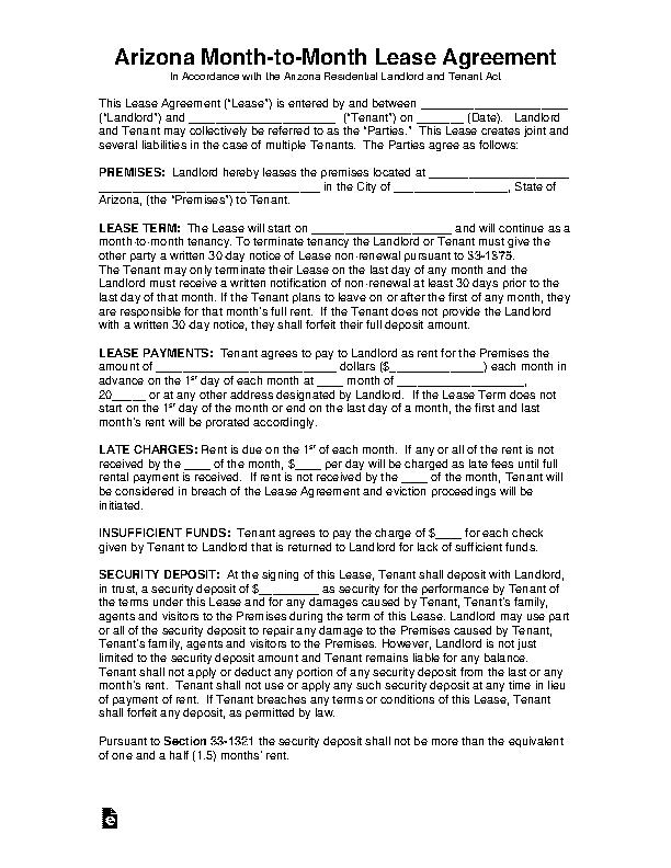 Arizona Month To Month Rental Agreement