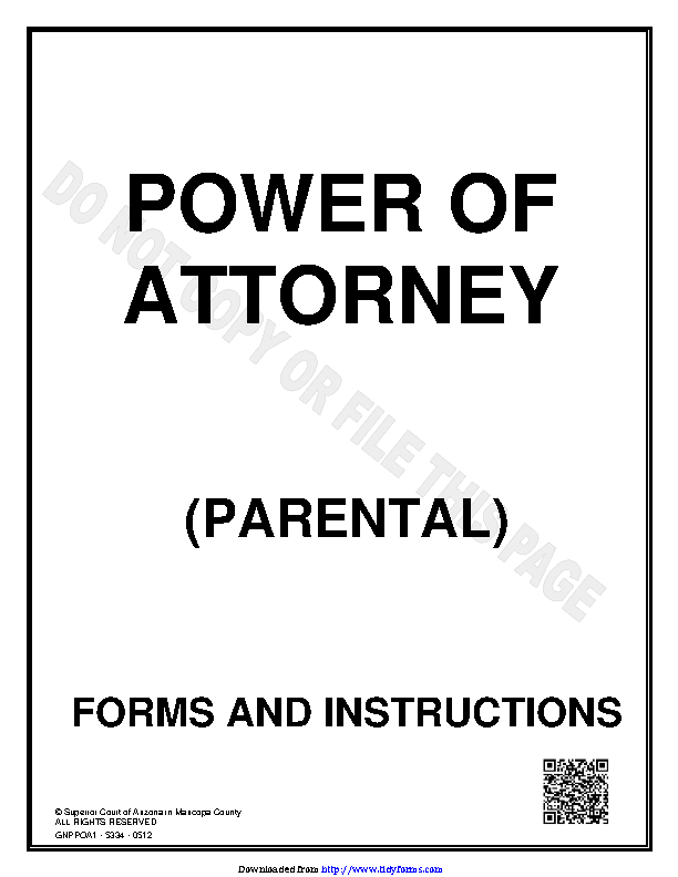 Arizona Parental Power Of Attorney Form
