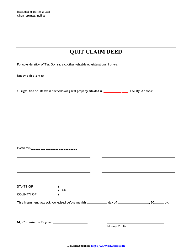 Arizona Quitclaim Deed Form