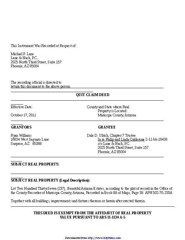 Arizona Quitclaim Deed Sample