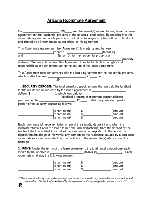 Arizona Roommate Lease Agreement