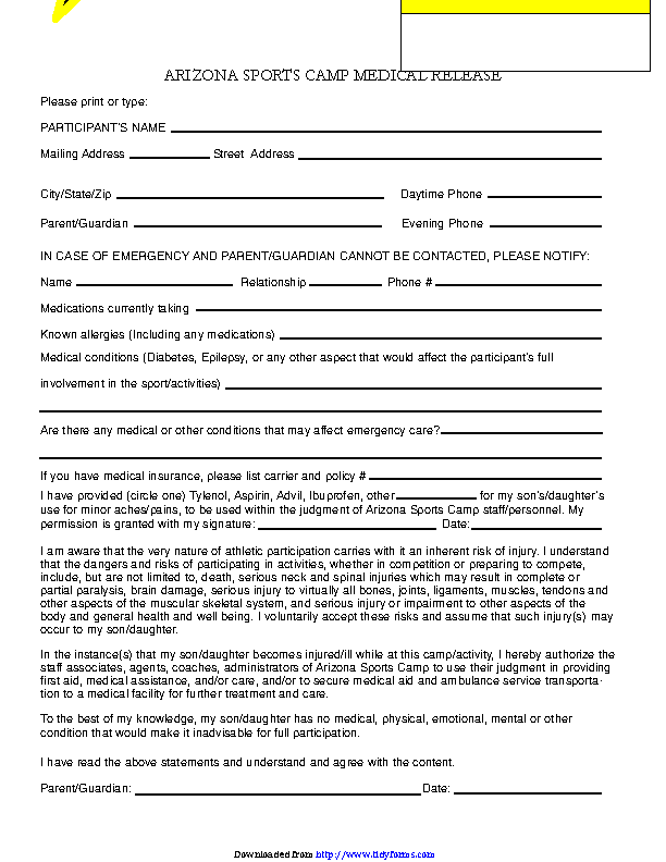 Arizona Sports Camp Medical Release Form
