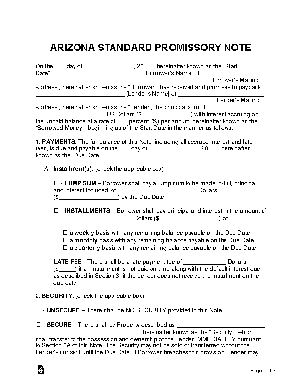 Arizona Standard Promissory Note Template