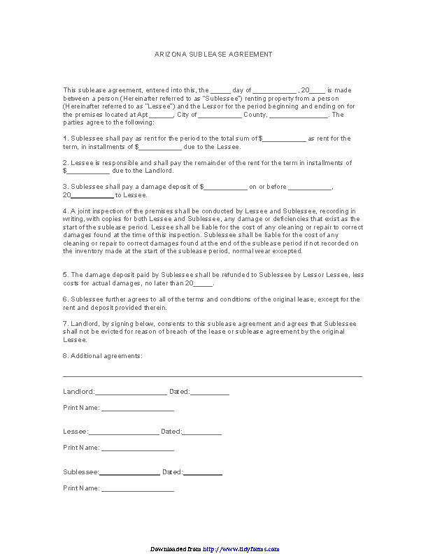Arizona Sublease Agreement Form