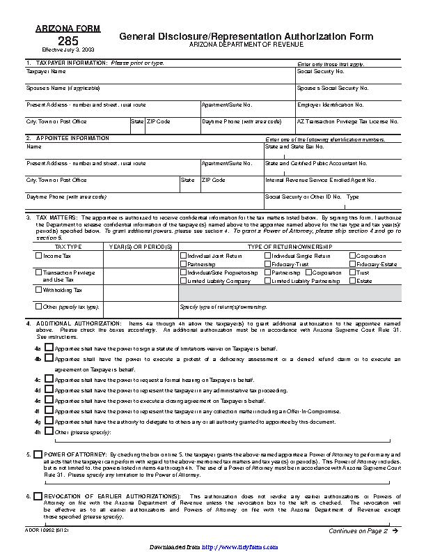Arizona Tax Power Of Attorney Form