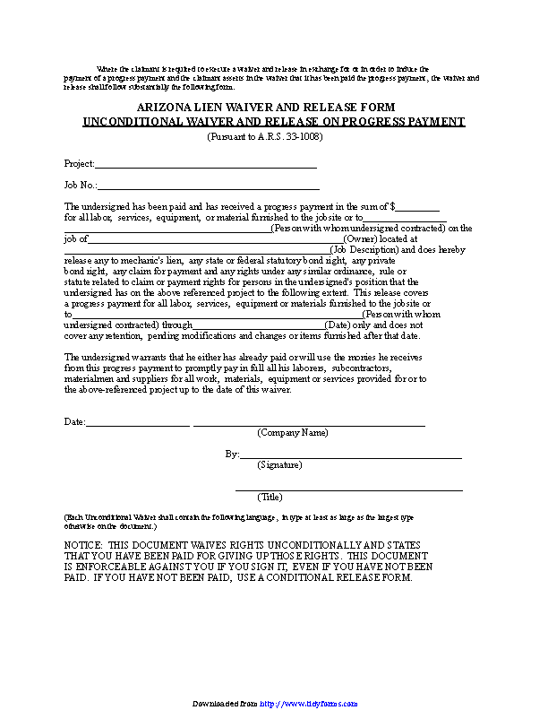 Arizona Unconditional Waiver And Release On Progress Payment