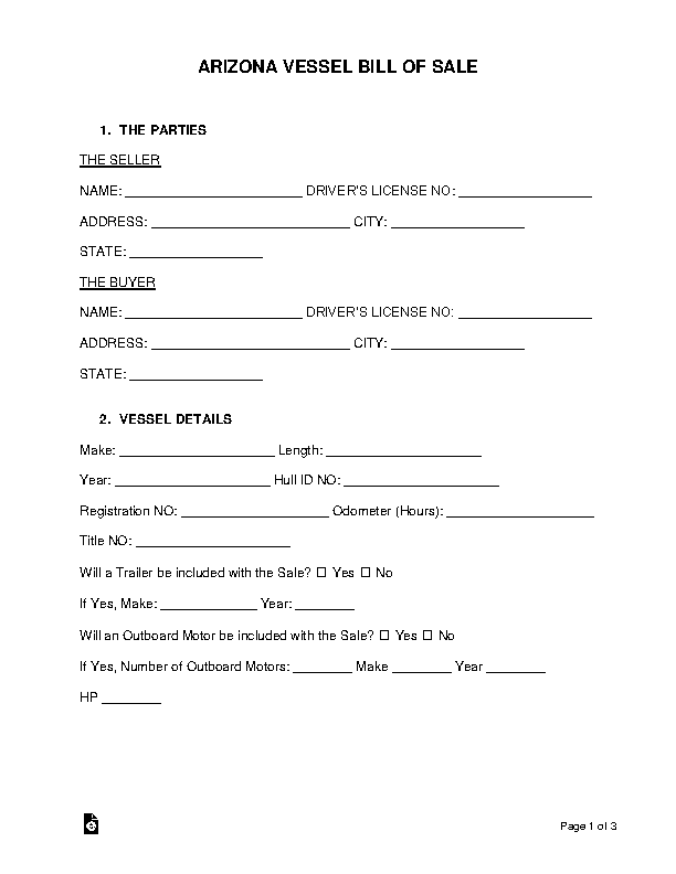 Arizona Vessel Bill Of Sale Form