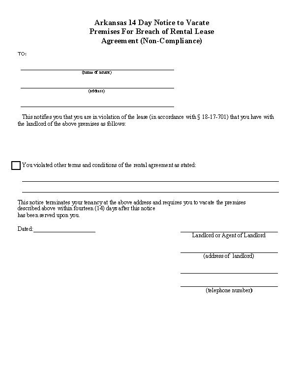 Arkansas 14 Day Eviction Notice Form
