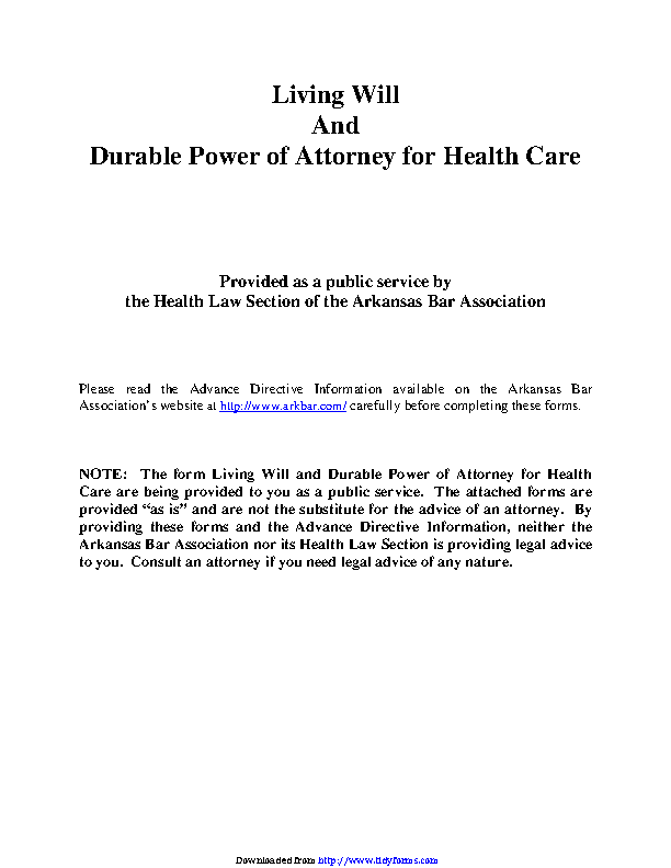 Arkansas Advance Health Care Directive Form