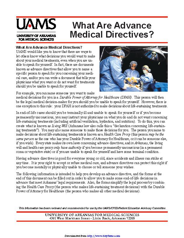 Arkansas Advance Medical Directive Form