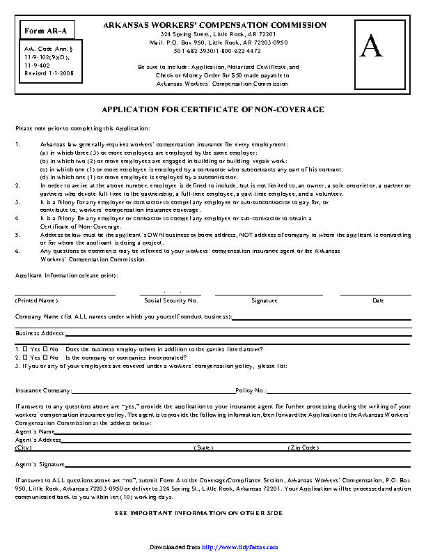 Arkansas Affidavit For Certificate Of Non Coverage Form