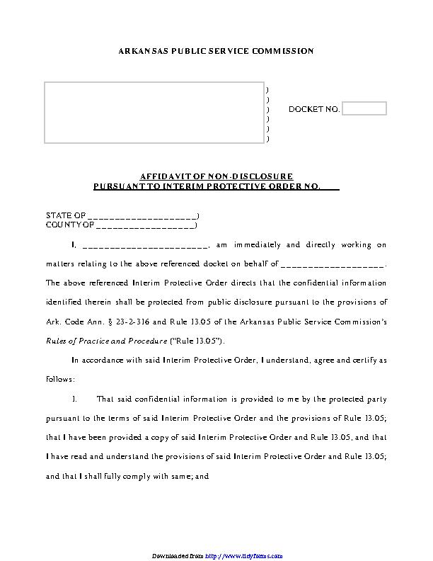 Arkansas Affidavit Of Non Disclosure Form