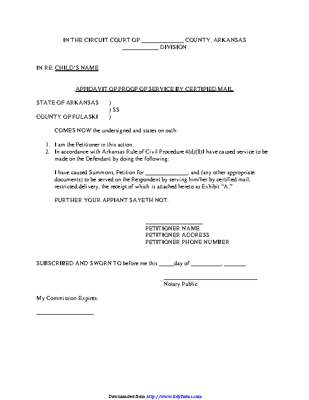 Arkansas Affidavit Of Proof Of Service By Certified Mail Form