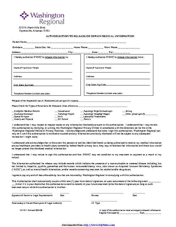 Arkansas Authorization To Release Or Obtain Medical Information Form
