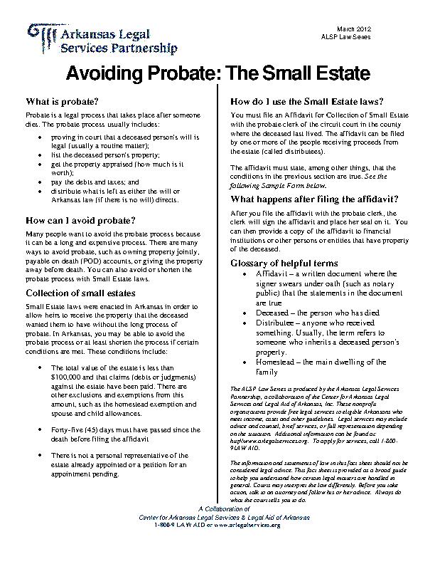 Arkansas Avoiding Probate The Small Estate