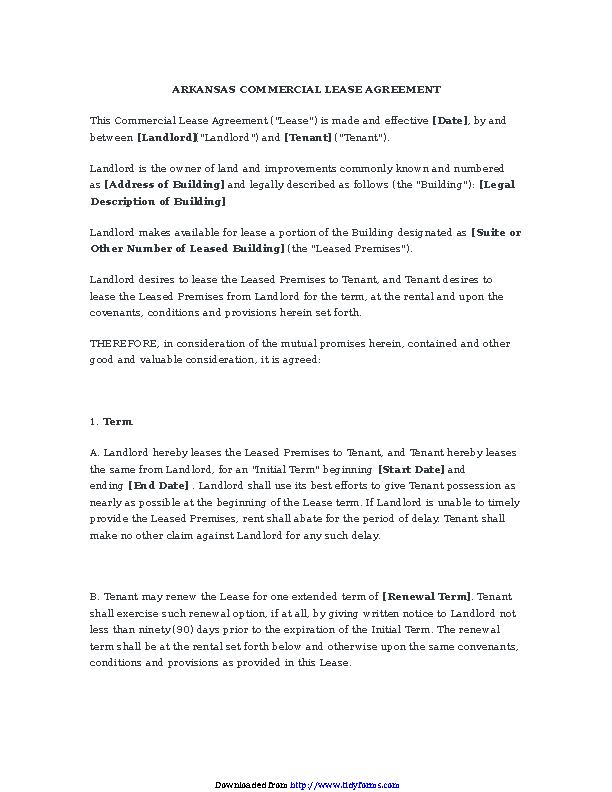 Arkansas Commercial Lease Agreement
