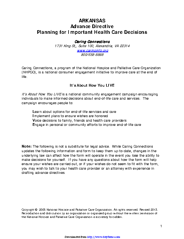 Arkansas Declaration And Durable Power Of Attorney For Health Care Form